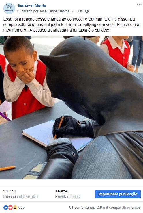 Sensível Mente Batman1 - Filho recebe Batman em sua escola sem saber que era seu PAI