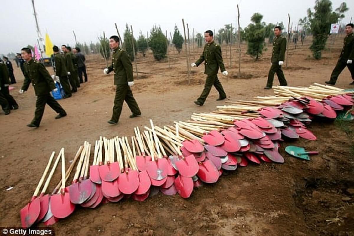 exercito da china - O governo chinês envia cerca de 60.000 soldados para plantar árvores