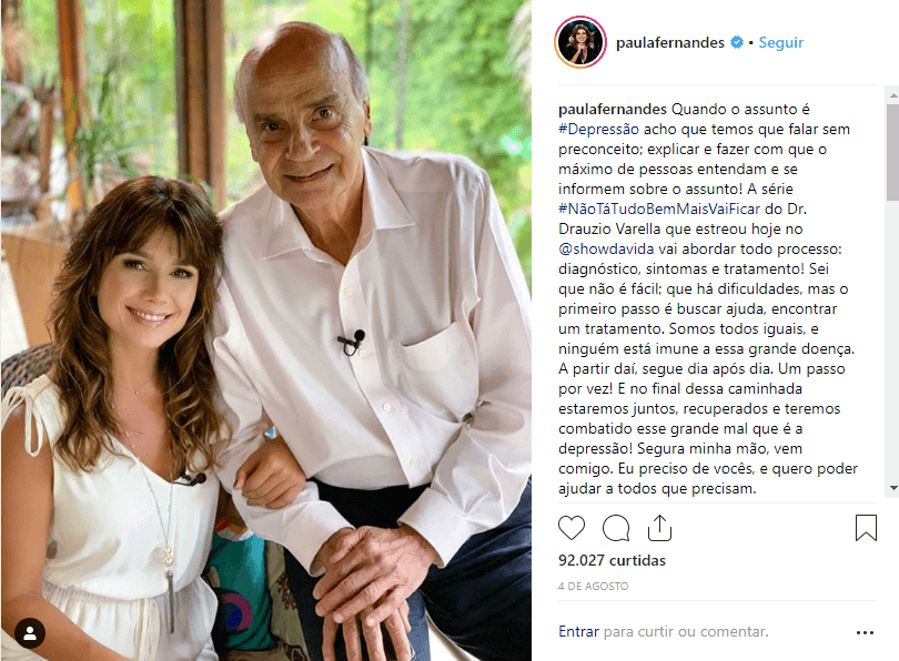 """Instagram Paula Fernandes - A sertaneja Paula Fernandes fala sobre sua depressão no Fantástico: """"Achei que ia morrer"""""""