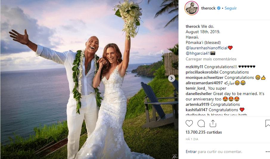 Instagran The Rock - O famoso The Rock se casou em lugar paradisíaco neste domingo confira!