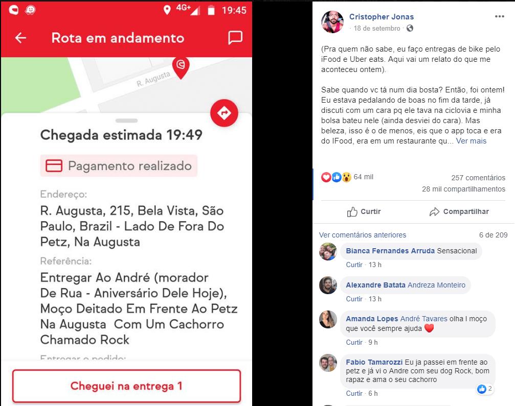 Facebook - Entregador emociona-se ao levar lanche de aniversário para morador de rua