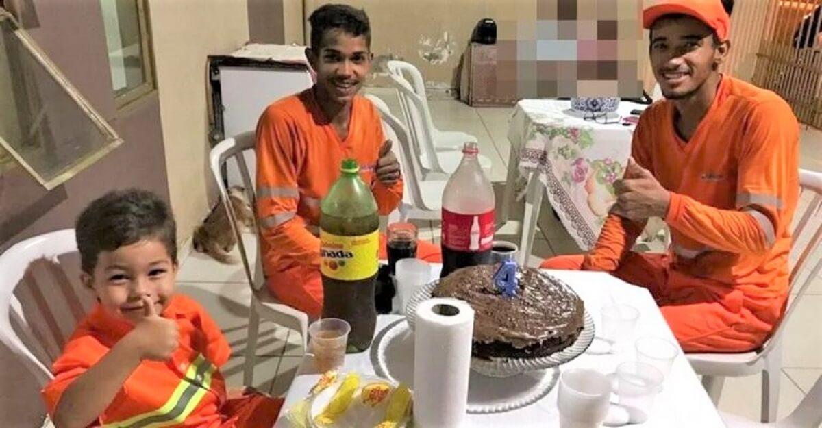 Festa com Garis - Garoto comemorou seu aniversário de 4 anos com seus amigos garis em Rondonópolis (MT)