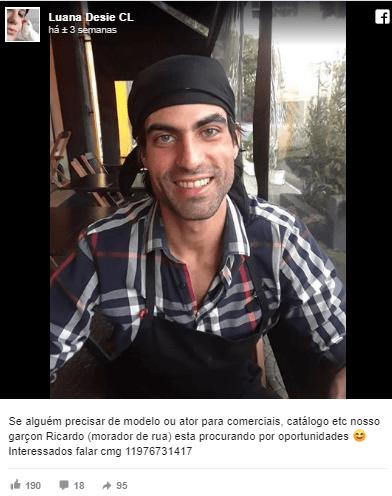 Garçom Ricardo - Rapaz que morava na rua e reciclava lixo consegue emprego de garçom e vira modelo