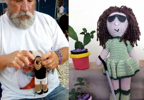 bonecas vovo2 - Vovô com vitiligo faz bonecas de crochê para que crianças se sintam bem com a aparência