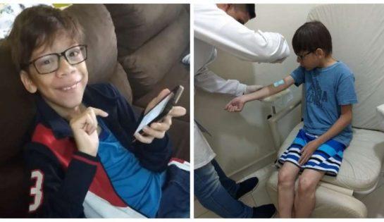 Guilherme fazendo exame - Menino autista sonhava em ser um youtuber e ao ganhar os 20 primeiros inscritos se emocionou muito