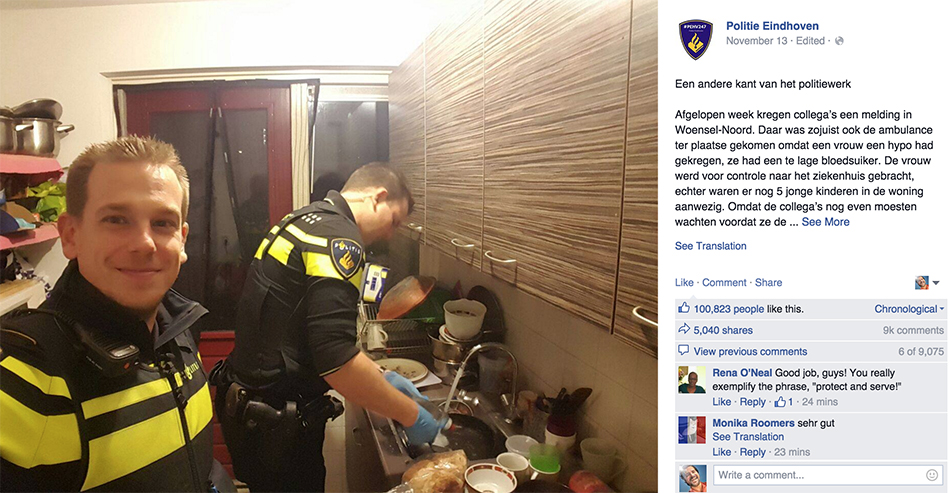 policial gentil - Policiais apos socorrerem mulher e envia-la ao hospital, ficam na casa dela fazendo jantar para os 5 filhos