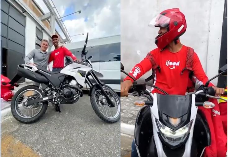 Foto Reprodução 2 - Motoboy que levou no colo mulher desconhecida na chuva ganha moto nova de presente