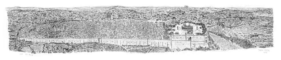 Jerusalem Panorama prints by Stephen Wiltshire - Após sobrevoar a cidade por 20 minutos o rapaz autista memorizou e desenhou NY