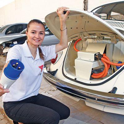 engenheira transforma fusca em carro eletrico 1 - Engenheira capixaba instalou motor elétrico em Fusca e deixou de usar gasolina
