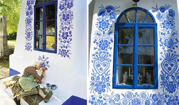 5 4 - Avó tcheca de 90 anos transforma pequena vila em sua galeria de arte pintando flores em suas casas