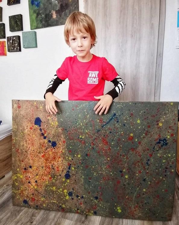"""3 1 7 - Pai postou com orgulho: """"Meu filho tem Autismo e se expressa através da pintura, e eis aqui algumas obras de arte dele""""."""