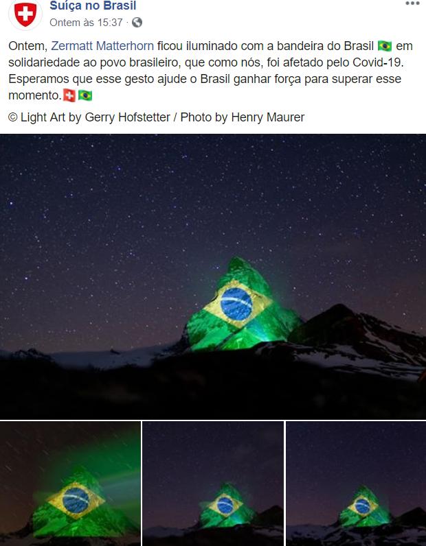 Suíça no Brasil - Bandeira brasileira é projetada em montanha na Suíça desejando força aos brasileiros que sofrem com a COVID-19