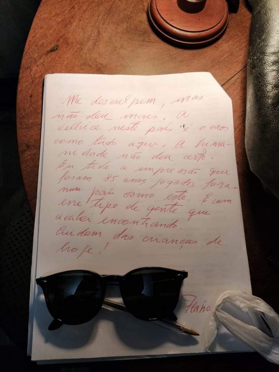 """flavio migliaccio carta despedida scaled - Filho de Flávio Migliaccio diz como foi a última conversa que teve com seu pai: """"Cansado, desiludido"""""""