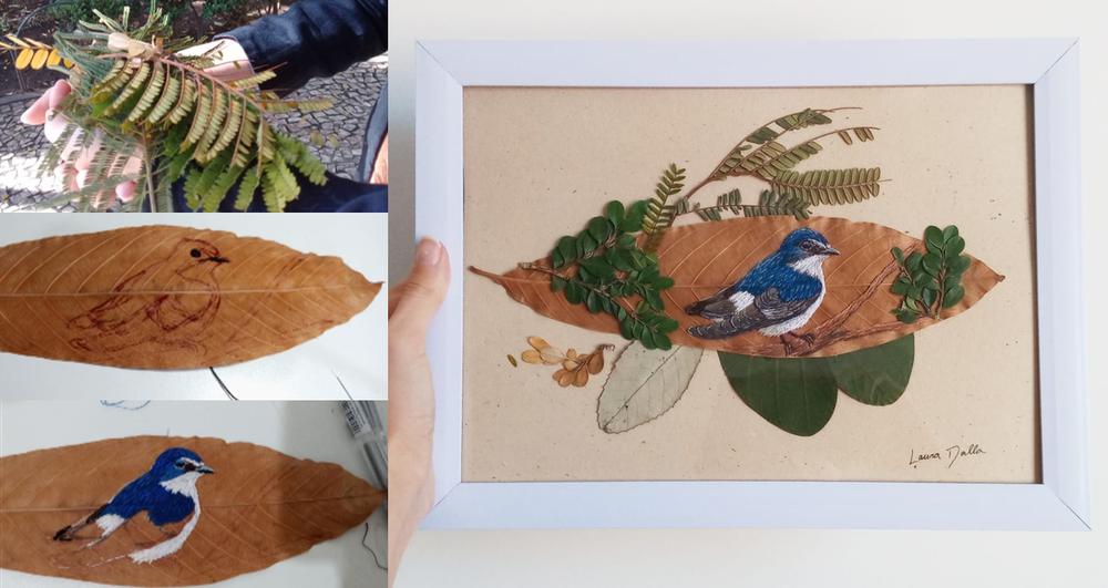 obra folha - Aves brasileiras bordadas em folhas secas, aprecie esta arte!