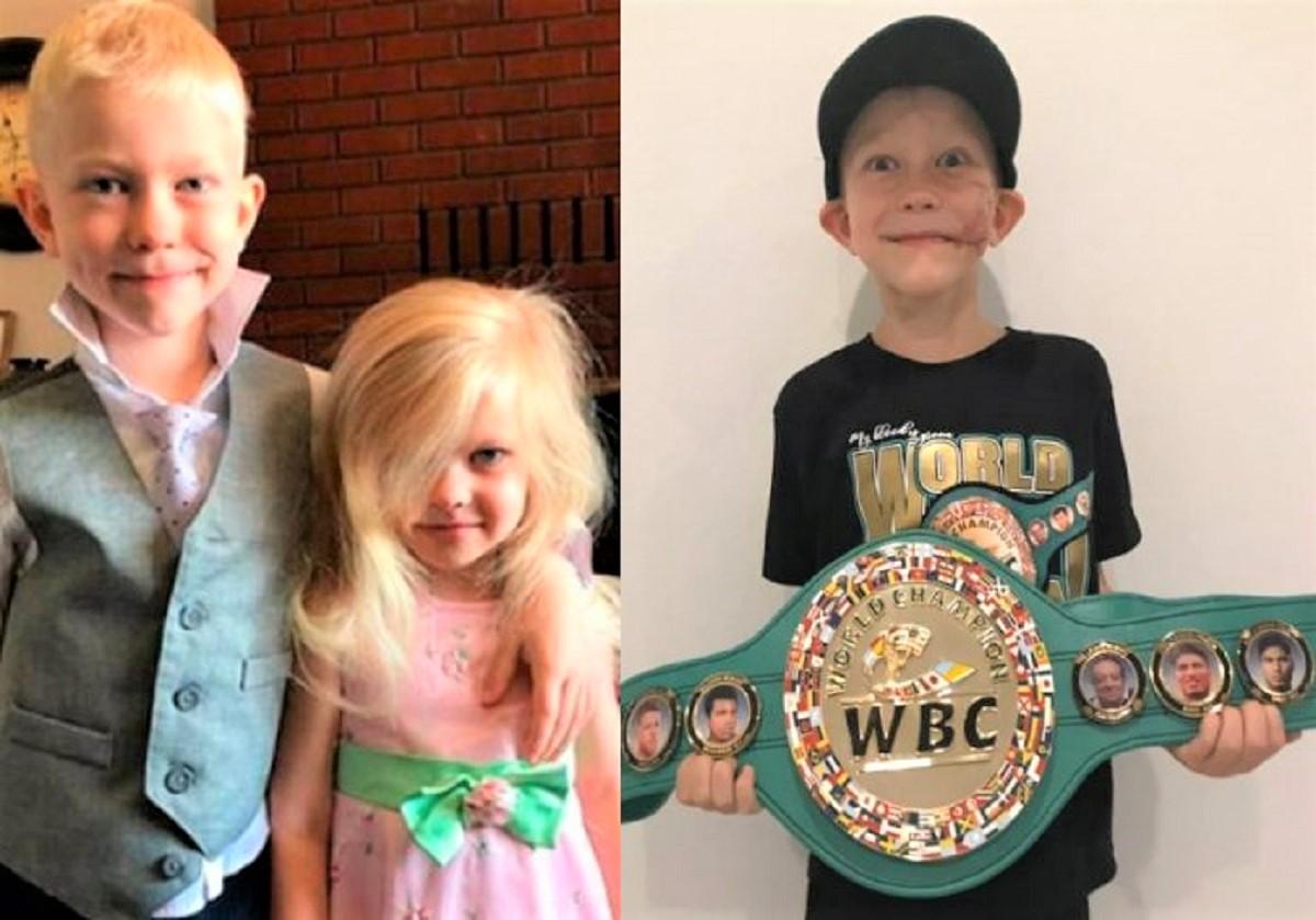 menino boxe 696x487 1 - Menino que salvou sua irmã de ataque por um cachorro ganhou cinturão de campeão de boxe