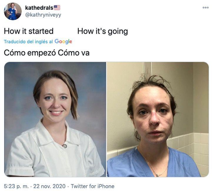 """3 6 - A enfermeira publicou seu """"antes e depois"""" para mostrar o trabalho árduo na pandemia. Isso é o que eles enfrentam"""