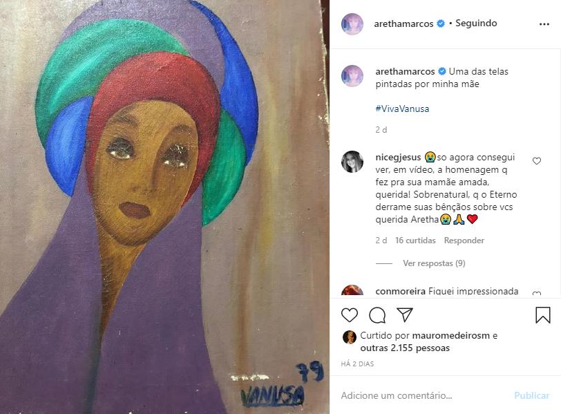 """Captura de Tela 111 - Filha de Vanusa revela ao público quadro que a mãe pintou e agradece: """"Extraordinária"""""""