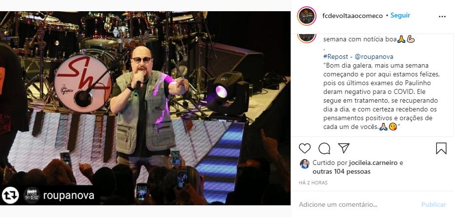 Captura de Tela 202 - O vocalista do Roupa nova, Paulinho, melhorou e já está curado da Covid-19