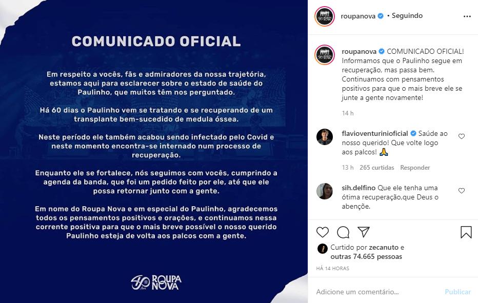 """Captura de Tela 88 - Vocalista da banda """"Roupa Nova"""" foi internado em estado grave, com Covid-19"""