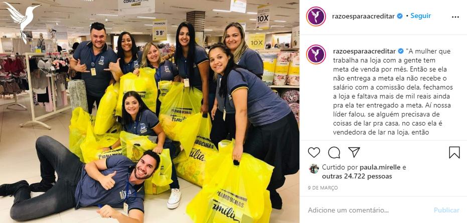 Captura de Tela 89 - Funcionários de uma loja compraram produtos para ajudar a colega atingir a meta de vendas e ganhar a comissão