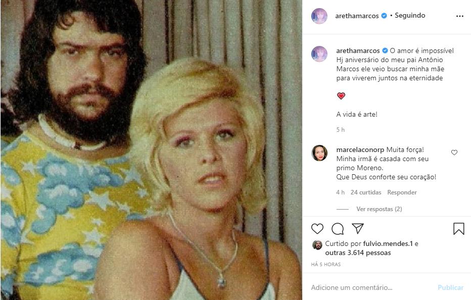 """Captura de Tela 91 - Filha de Vanusa homenageia a mãe postando foto da cantora com o pai: """"Juntos na Eternidade"""""""