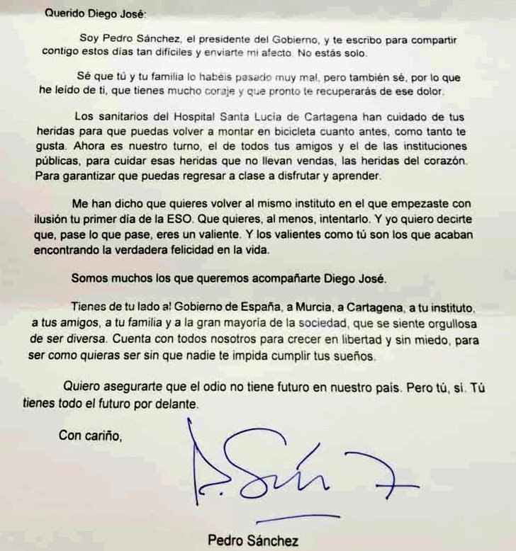 """EnCYq1nWMAErxUs - Presidente espanhol escreve carta a menino atacado por homofobia: """"O ódio não tem futuro, mas você sim"""""""