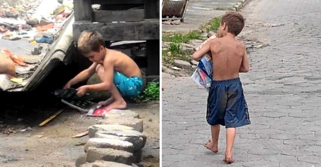 """nino libros calle recoge 1024x533 1 - Menino de 5 anos pega livros no lixo """"Meu sonho é estudar"""", declarou Matheus"""