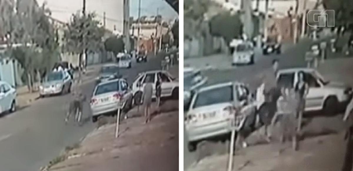 Captura de Tela 226 - Um homem dá uma voadora em uma mulher durante uma briga de trânsito, Franca, SP, Vídeo
