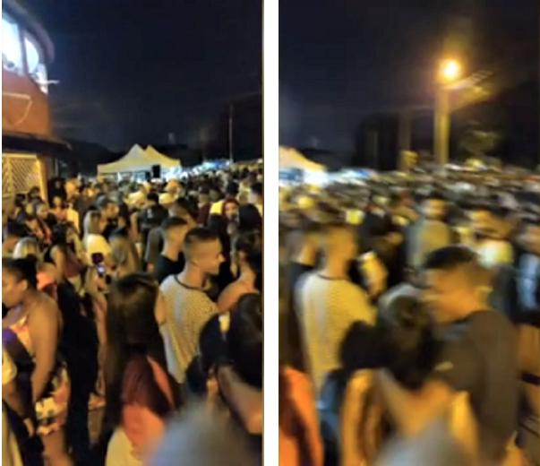 """Captura de Tela 388 - """"Pagode da Covid"""" é promovido por milhares de pessoas sem máscaras na periferia de São Vicente, SP."""
