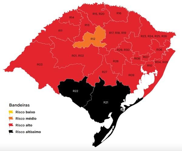 mapa rs 32 - RIO GRANDE DO SUL tem bandeira preta no mapa de controle COVID19