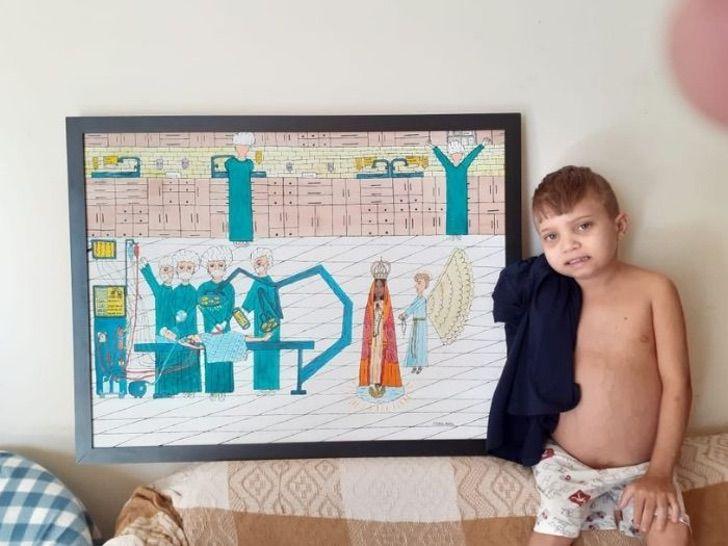 2 6 - Menino de 13 anos desenha pinturas de santos para pagar um tratamento caro. Seu talento te dá força