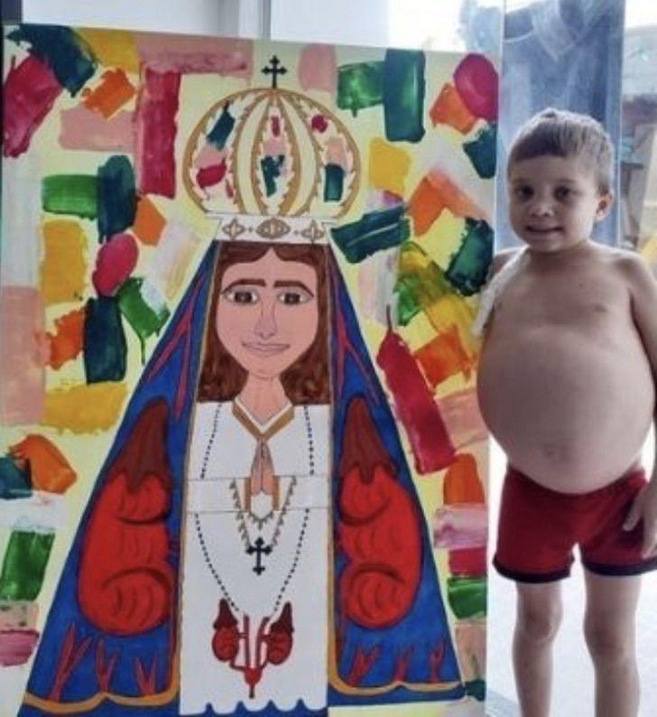 3 6 - Menino de 13 anos desenha pinturas de santos para pagar um tratamento caro. Seu talento te dá força