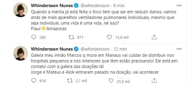 Captura de Tela 478 - Whindersson Nunes conseguiu três aviões para levar ventiladores pulmonares a hospitais de Manaus