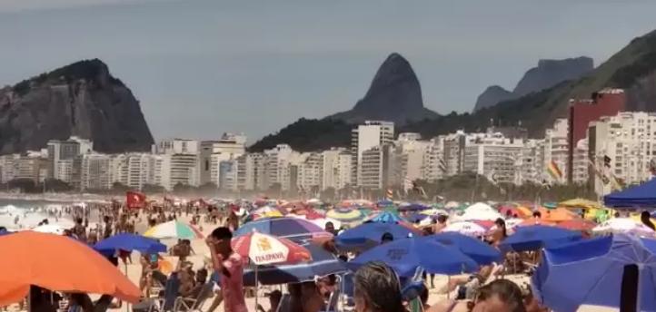 Captura de Tela 530 - Mesmo com forte risco de contágio, praias do Rio de Janeiro lotam neste domingo (24).