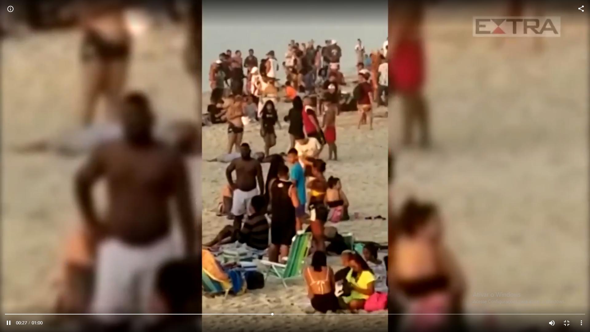 Captura de Tela 591 - No domingo (31), praia de Ipanema amanhece lotada e a aglomeração impressiona.