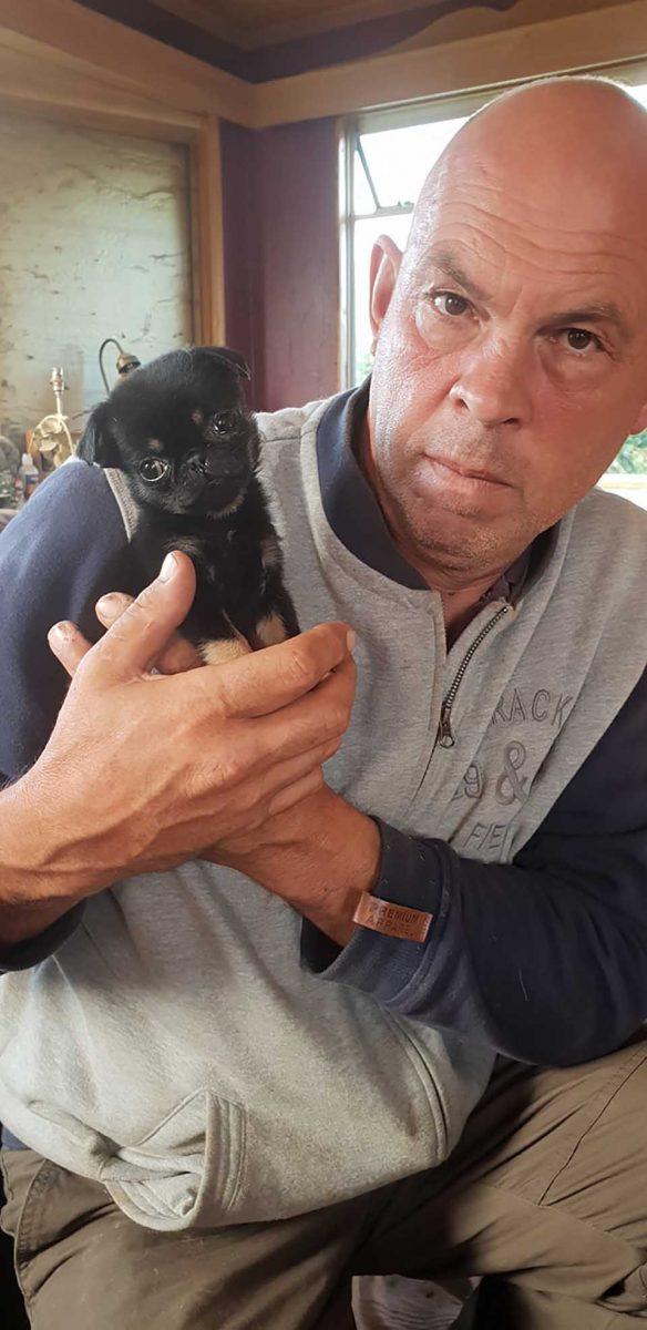 4 scaled - Cãozinho bebê foi deixado em um saco plástico pelo chão, uma família o adotou