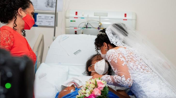 """1 1 - Noiva visita a mãe no hospital minutos antes de se casar: """"Filha, você está aqui"""""""