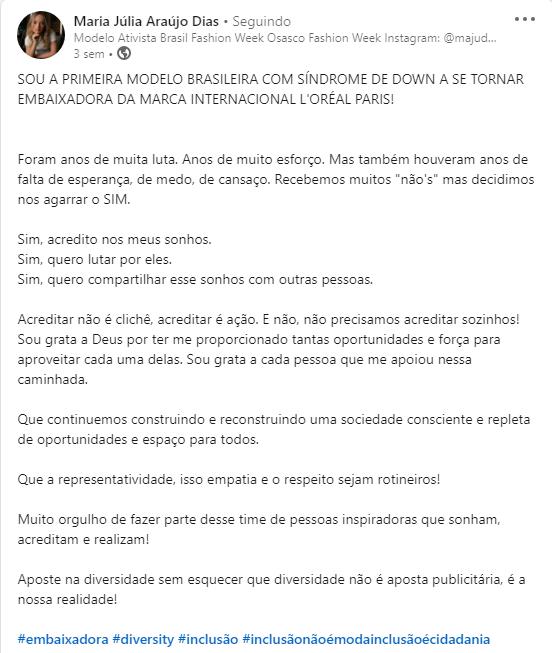Captura de Tela 149 - Uma modelo com Síndrome de Down se tornou a 1ª embaixadora brasileira da L'Oreal