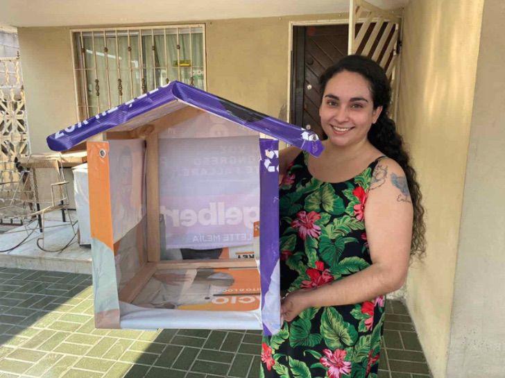 3 5 - Mulher recicla lixo eleitoral e o transforma em casa para cães abandonados. Ela tem ajudado por 13 anos