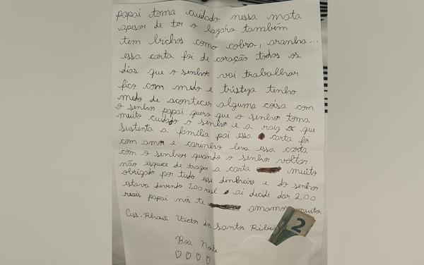 """carta edt - Filho de policial escreve carta emocionate para pai se proteger durante as buscas por Lázaro Barbosa: """"Fico com medo e tristeza"""""""